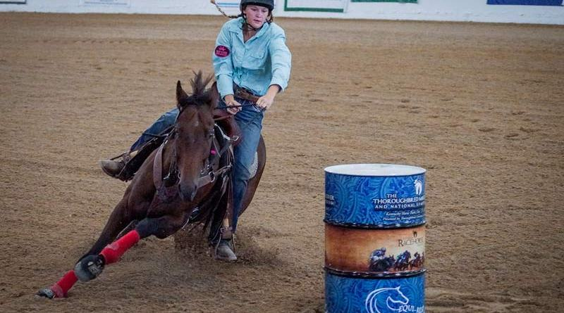 A Barrel Racing Championships will be held at the Thoroughbred Makeover for the first time. Pictured is Megan Overy and Just in Flash.