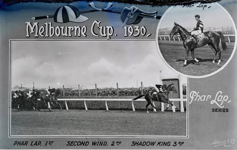Melbourne Cup 1930. Phar Lap 1st. Second Wind 2nd. Shadow King 3rd. Melbourne, Victoria