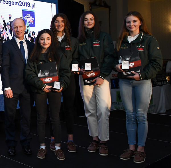 From left, Ronan Murphy, CEO of Horse Sport Ireland, with Tiggy Hancock, Susan Shanahan, Grace Tyrrell, and Alex Connors at the HSI Medal Reception 2019 at Killashee House Hotel in Co Kildare.