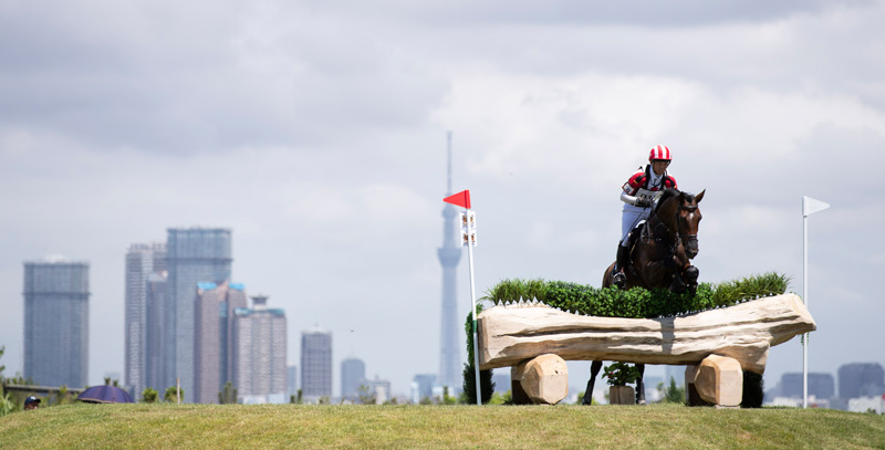 Japan's Kazuma Tomoto and Tacoma Dohorset competing at the Test Event at Sea Forest Park in Tokyo in August 2019.