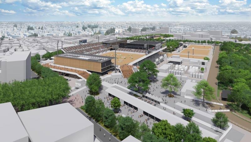 A rendering of the Baji Koen equestrian venue in Tokyo.