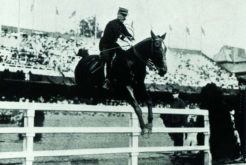 1912 Olympic jumping gold medalist Jean Cariou (France), riding Mignon.
