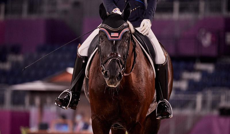 Para dressage horse Solitaer40, ridden by Kate Shoemaker (USA) at Tokyo 2020.