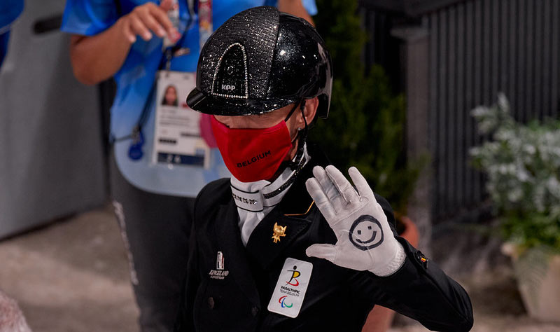 Belgian para dressage rider Michele George, who rides Best of 8 at Tokyo 2020.