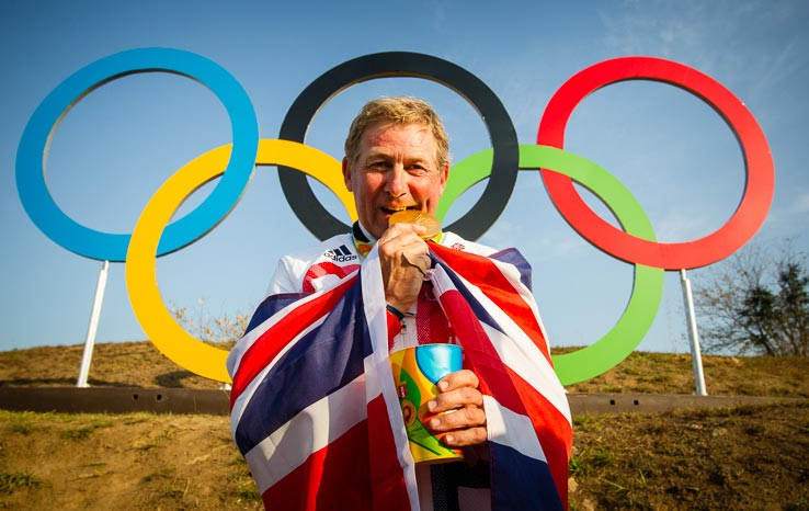 Nick Skelton celebrates his gold medal win following a stunning performance at the Deodoro Equestrian Park claiming the Olympic Individual title at the Rio 2016 Games with Big Star.