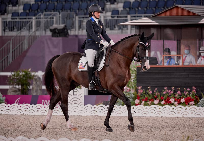 Roxanne Trunnell and Dolton on the first day of the para dressage team competition at the Tokyo 2020 Paralympics.