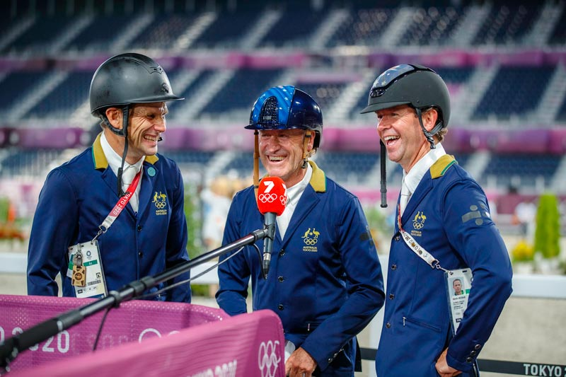 Australia's Tokyo 2020 eventing team silver medalists, from left, Shane Rose, Andrew Hoy and Kevin McNab.