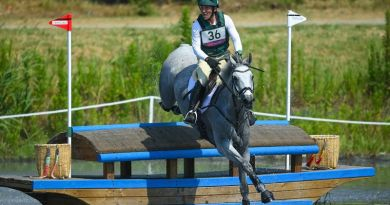 Austin O'Connor of Ireland riding Colorado Blue during the eventing Cross Country at the Sea Forest Cross-Country Course during the 2020 Tokyo Olympics.