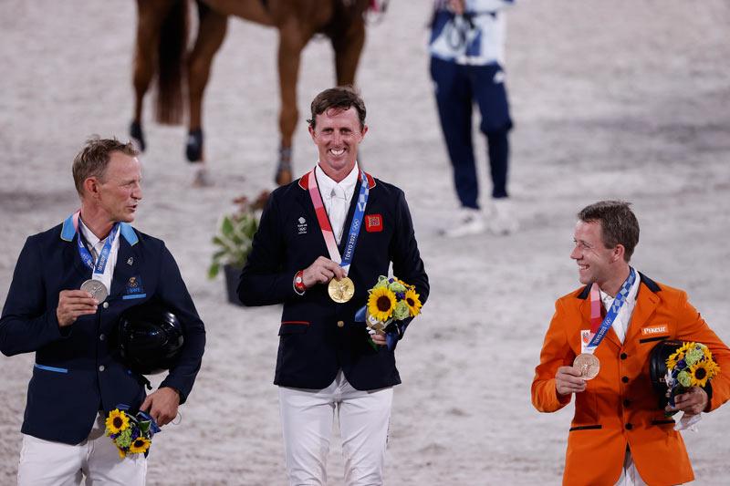 Tokyo 2020 Jumping individual medalists, from left, Peder Fredricson, Ben Maher, and Maikel van der Vleuten.