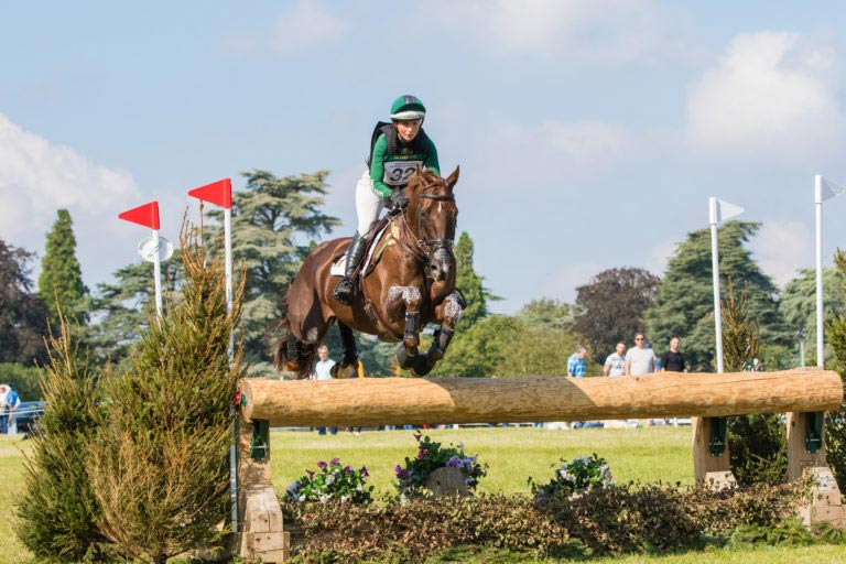 Third-placed Susie Berry and John The Bull on the CCI4*-L cross-country at Blenheim.