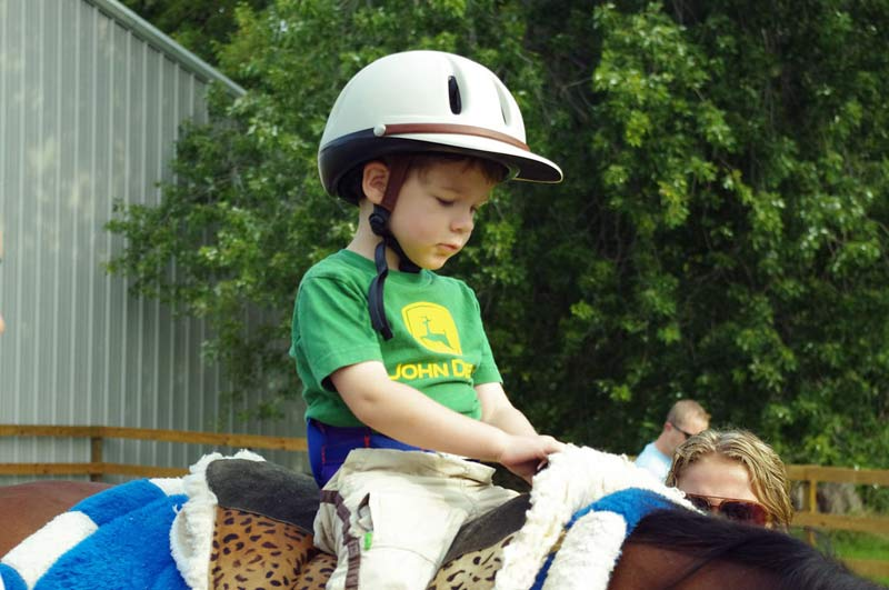 The study team looked for correlations between the vertical accelerations of children and horses.