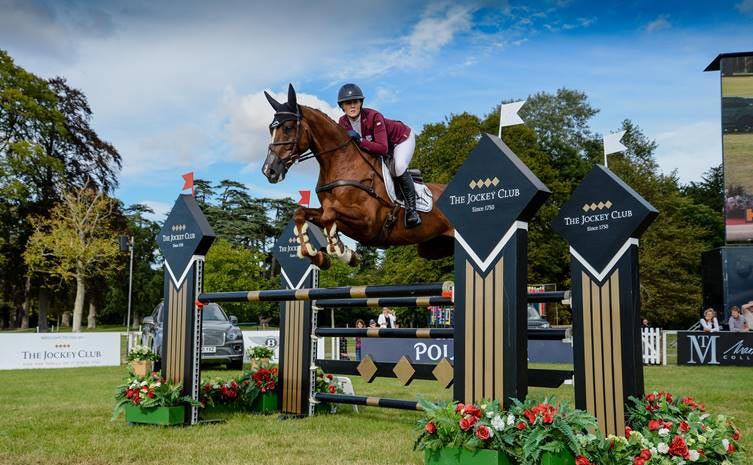 CCI4*-L winners Yasmin Ingham and Banzai Du Loir in the jumping phase at the Blenheim Palace International Horse Trials.