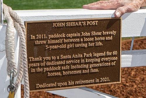 John Shear's Post at Santa Anita was unveiled on October 1.