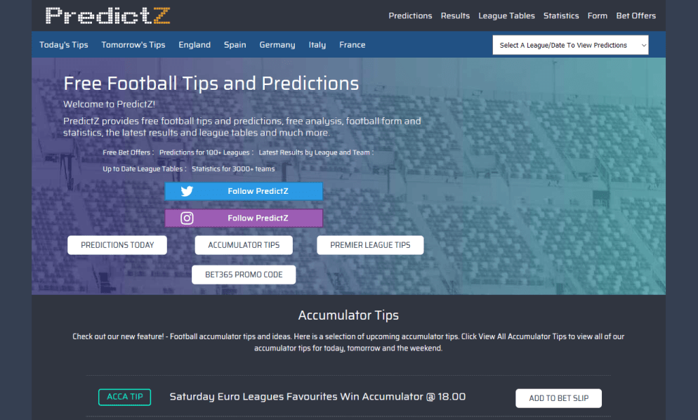 Picture of Predictz website