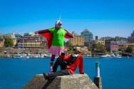 MU and Monty guard the Inner Harbour-photo by Wendy Nesbitt-IMG_3499