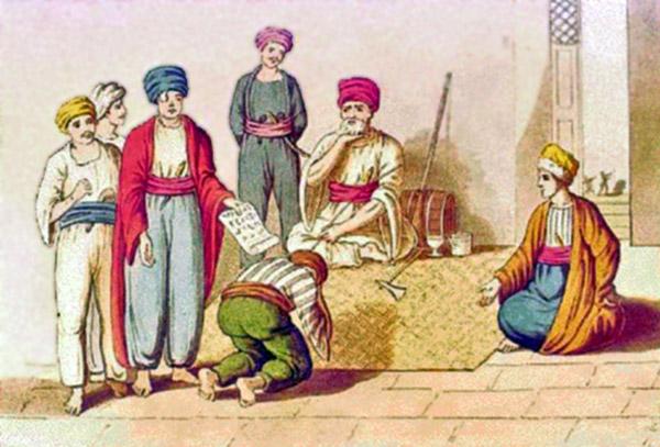 ג'זאר פחה גוזר דין נתינו; חיים פרחי (בגלימה אדומה) עם העין החבושה צילום: תמר הירדני