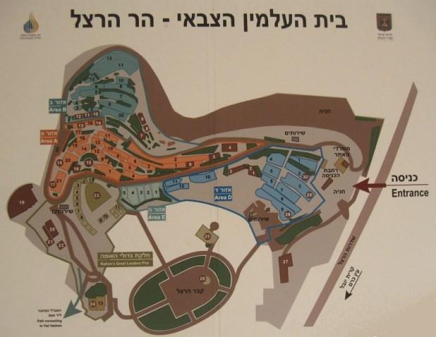 מפת בית הקברות, המוצבת ברחבת הכניסה אליו צילום: Ori~
