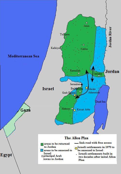 מפת תוכנית אלון. בה סומנו באופן עקרוני חיצים של כבישים שיחברו בין צפון ודרום יהודה ושומרון צילום:Tallicfan20
