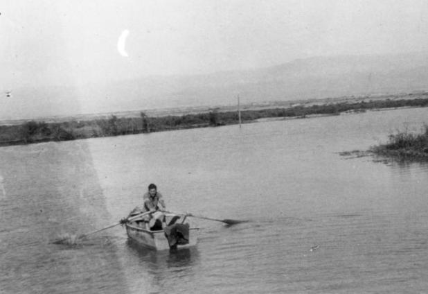 Working the fish ponds at Beit Ha'arva. 1940s