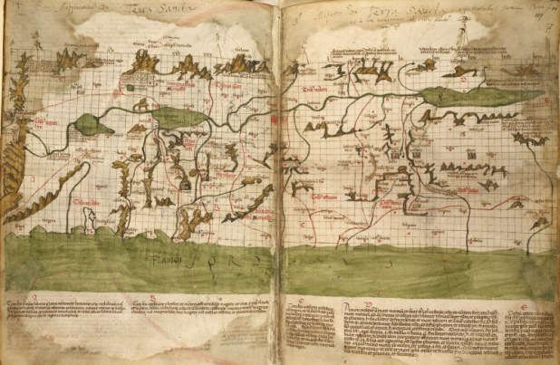 The 1320 CE map of the Holy Land by Marino Sanudo, drawn in showing Bet Agla