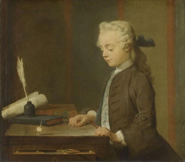ילד משחק בסביבון, ציור שמן על קנבס, המאה ה-18