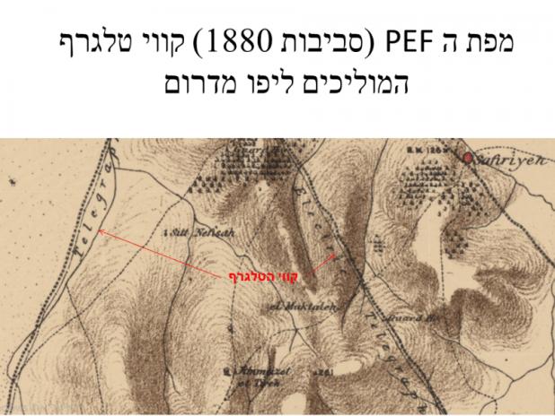 קטע ממפת ה PEF בו מסומנים קווי הטלגרף שהוליכו ליפו מדרום, הקו הימני (המזרחי) עובר לאורכה של דרך יפו-רמלה (כביש 44 של היום). צילום:Offer.s.z