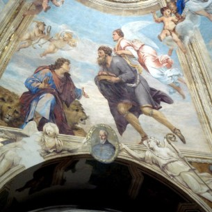 Abacuc carrying bread to Daniel in the lions' den , Duomo, Siracusa