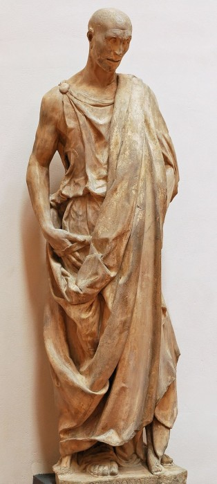 """Statue of Habacuc, better known as """"Zuccone"""" (""""pumpkin""""). From the bell tower of the Duomo of Florence, Italy. Marble"""