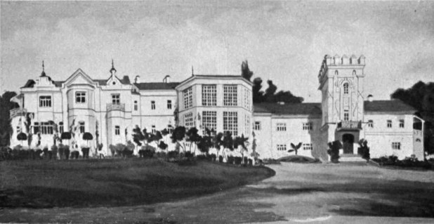 View in 1917, the left rear facade of the new palace, the case - the main façade of the old palace