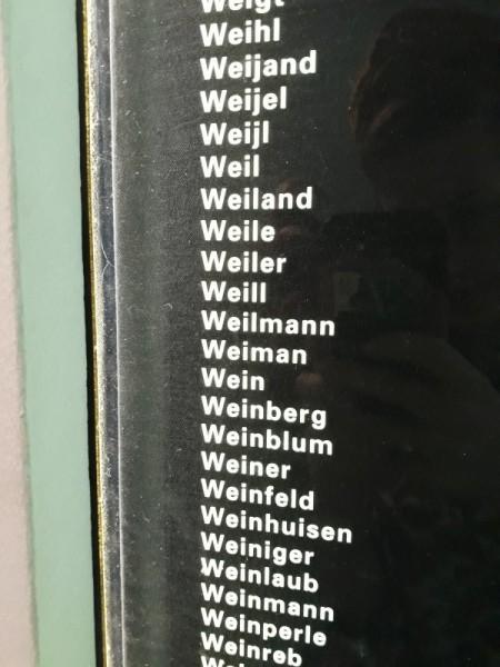 שמה של משפחת ויינברג ברשימת יהודי הולנד שנהרגו בתיאטרון היהודי