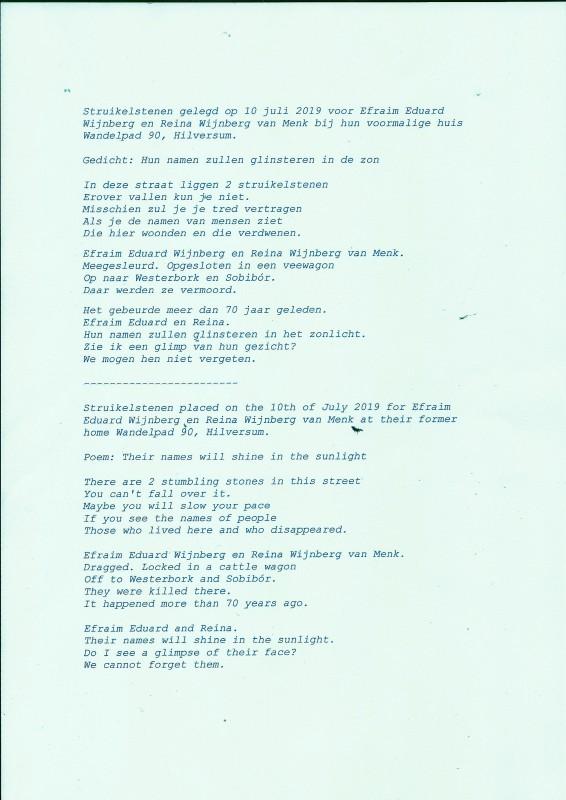 שיר מאת חברינו Riny En Gerry Kluvers