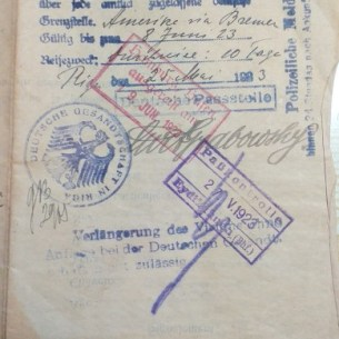 Visa to enter Germany. Abraham Zalman went by boat from Bremen to Boston.