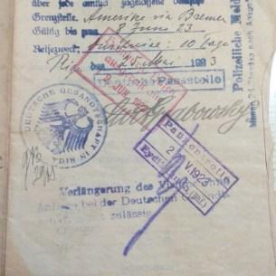 Visa to enter Germany. Abraham Zalman went by boat from Bremen to Boston.