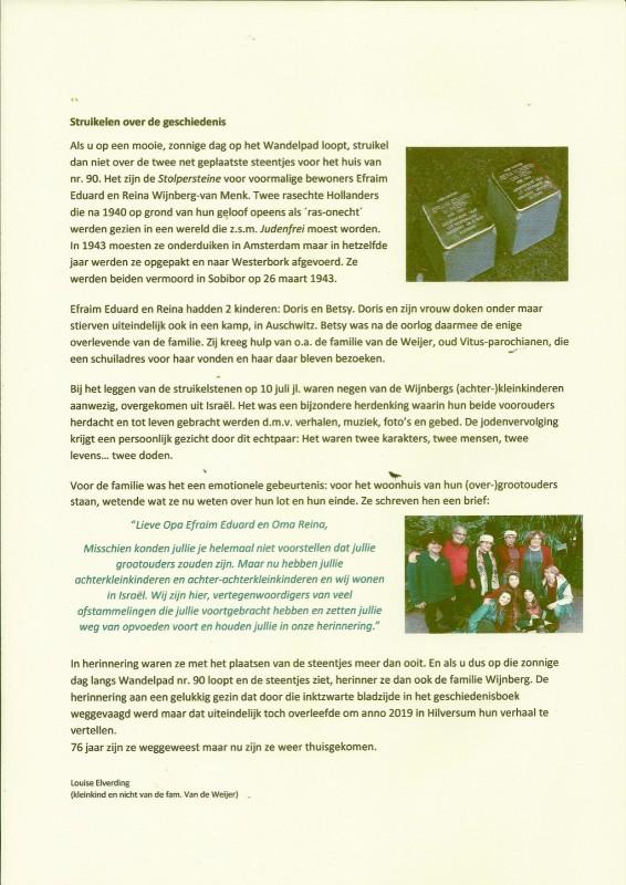 מאמר בעתוןן של הכנסייה הקתולית של הילפרסום. כרתבה אחיינית של טו An article in the local Catholic church by - Louise Elverding(kleinkind en nicht van de fam. Van de WeijerTo's niece - Louise Elverding(kleinkind en nicht van de fam. Van de Weijer) לואיז אלברדינג (נכדה ואחייניתה של משפחת ואן דה ווייר)