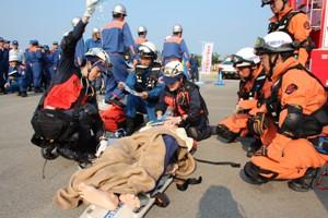嶺北消防組合による消防総合訓練に本院DMATチームが參加しました。 – 福井大學醫學部附屬病院
