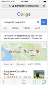 """#1 Búsqueda en Google móviles """"Parapente Costa Rica"""""""