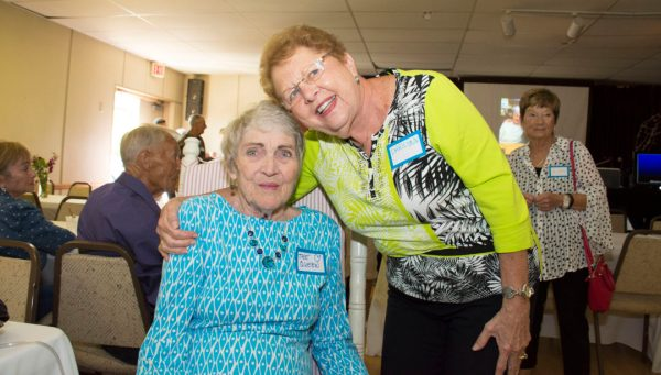 Long time friends of 50 years celebrate Mary's life at her big a-wake.