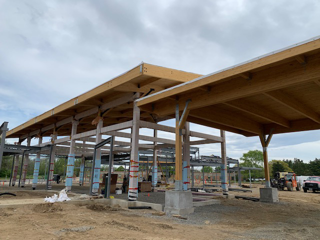 New construction Hospice House framework entrance