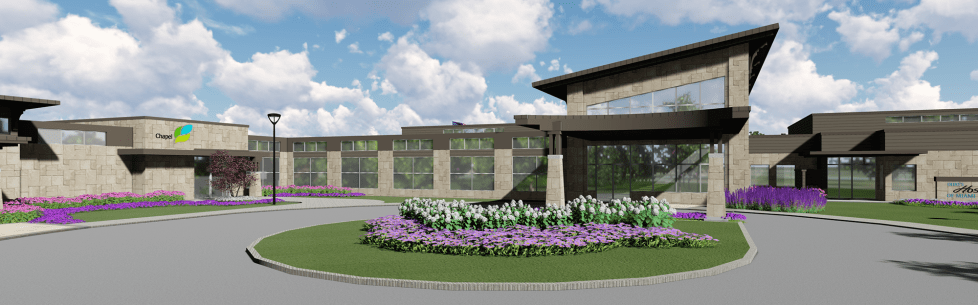 New construction Hospice House exterior rendering