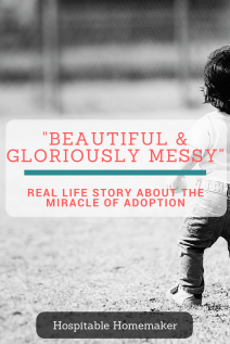 """child playing outside text overlay: """"beautiful and gloriously messy"""" real life story about the miracle of adoption"""