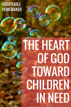"""bubbles in the woods with text overlay """"the heart of God toward children in need"""""""