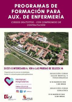 Pruebas de selección el jueves, 15 de Marzo de 2018 - Información 979 16 53 24 - bmartin.palencia@hospitalarias.es