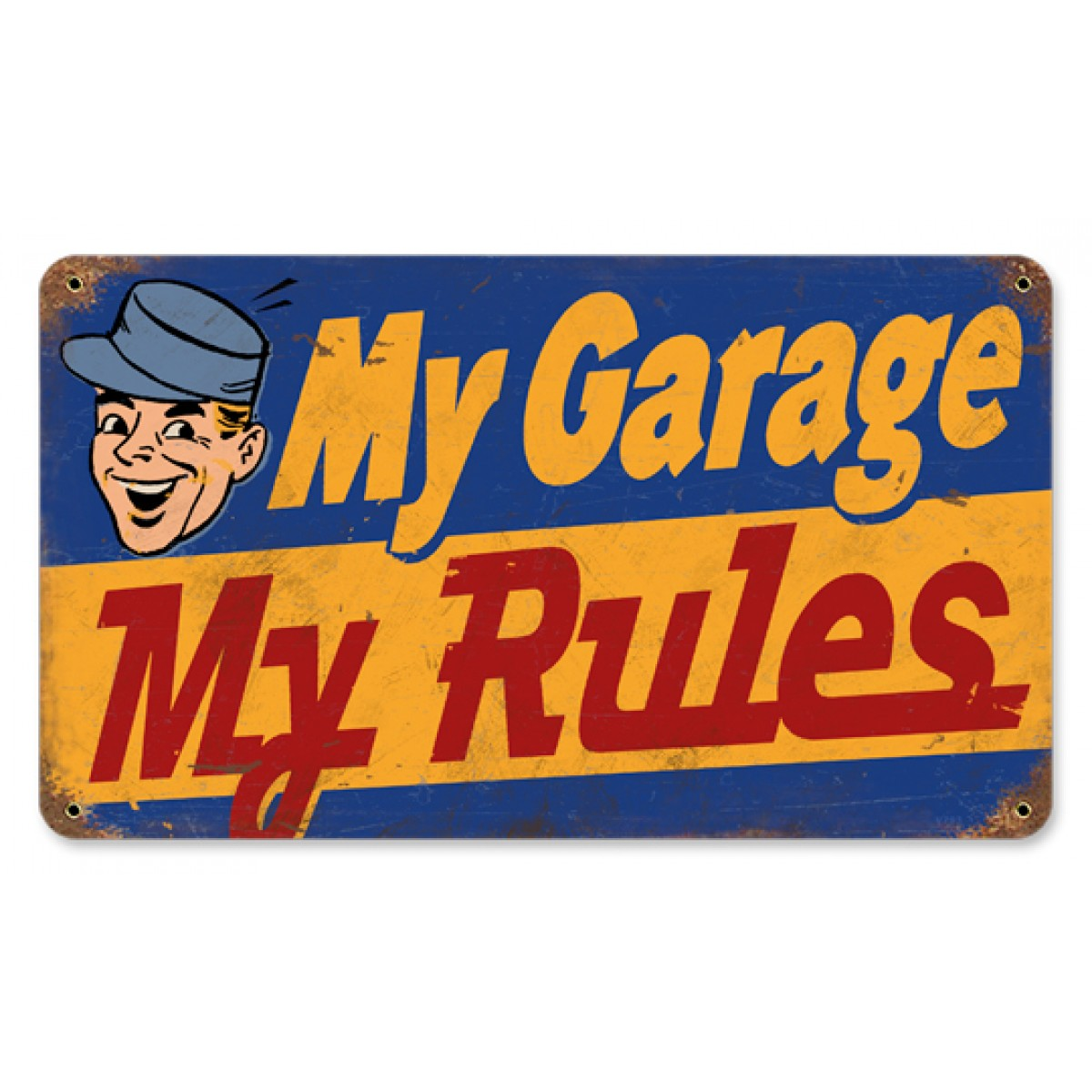 HossRodscom  My Garage My Rules Metal Sign  Hot Rod
