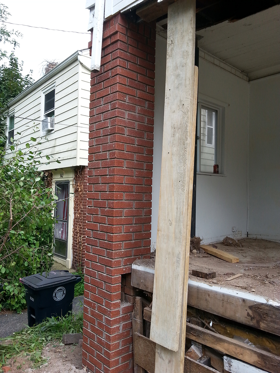 Brick and Stone Column Rebuilding  Restoration  Hostetler Masonry