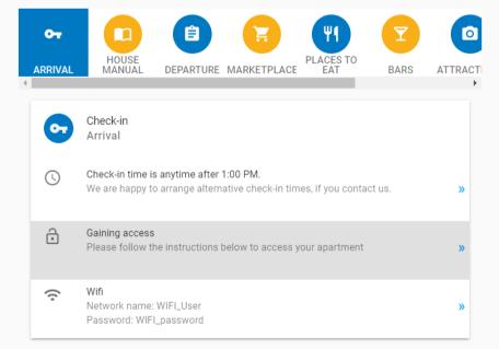 digital guidebook check in