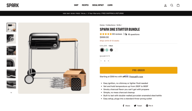 spark grills product page