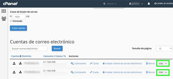 cPpanel - Cuentas de correo electrónico (recuadro más)