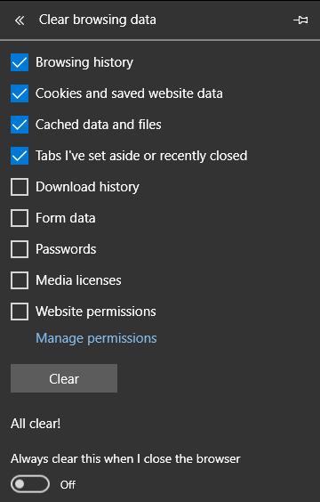 Cara Menghapus Cache di Microsoft Edge