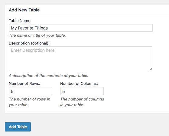 Membuat tabel baru WordPress dengan TablePress