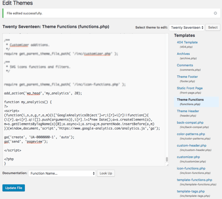 google analytics added to functions php